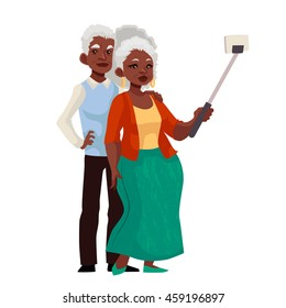 Elder grey-haired african american couple taking selfie, cartoon style vector illustration. Older casually dressed black skinned man and woman taking pictures of themselves using phone and monopod