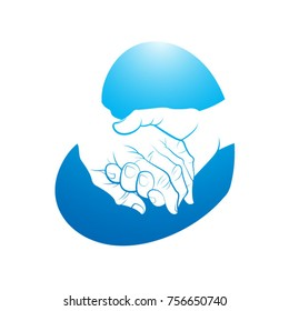 elder hand on young hand in blue-vector drawing