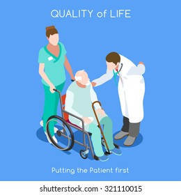 Elder Health Care Medical Doctor Senior Patient Infographic. Clinic Day Hospital Patient Healthcare. Nurse Old man Patient Wheelchair. Medicine staff health  Isometric Hero People nurse Vector images
