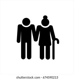 Elder People icon in trendy flat style isolated on background. Elder People icon page symbol for your web site design Elder People icon logo, app, UI. Elder People icon Vector illustration, EPS10.