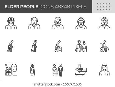 Elder People Vector Line Icons. Old Man, Aging, Grandfather, Grandmather, Disabled Healthcare, Nursing. Editable Stroke. 48x48 Pixel Perfect.