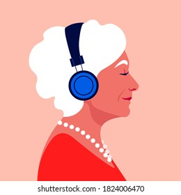 Elder woman listen to music on headphones. Music therapy. Grandmother's profile. Musician avatar side view. Vector flat illustration