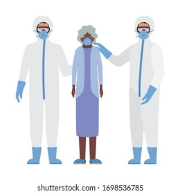 Elder woman with mask and doctors with protective suits against Covid 19 design of Medical care hygiene health emergency and patient theme Vector illustration