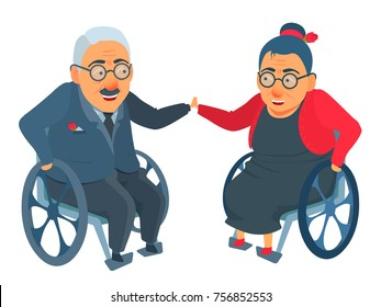 Elderly age couple, man and woman in wheel chair, sit in front each other, smile, touch hands. Vector illustration isolated on white. Cartoon flat comic style. Family, old, seniors, grandpa, grandma.