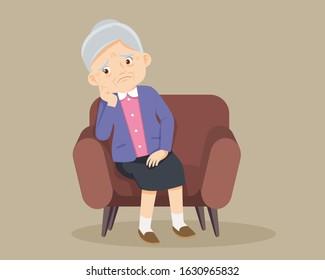 elderly alone sad ,sad Senior woman sitting alone on sofa,elderly thinking