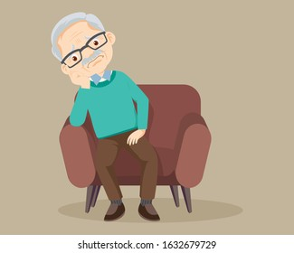 elderly alone sad,sad elderly man Bored, Senior man sitting alone on sofa,elderly talking