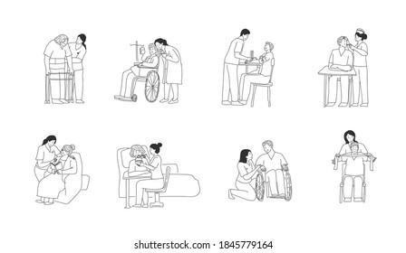elderly care cartoon, doodle black line drawing style