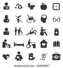elderly care icon set flat design