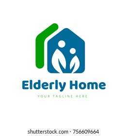 Elderly Care Logo, eldercare, aged care, With Home and people symbol.