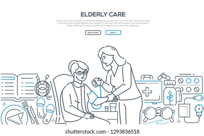 Elderly care - modern line design style banner on white background. Young female medical worker, volunteer helping senior woman, patient to measure blood pressure. Healthcare concept