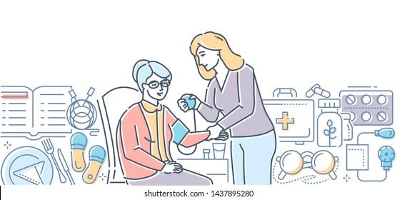 Elderly care - modern line design style illustration on white background. Young female medical worker, volunteer helping senior woman to measure blood pressure. Healthcare, social work concept