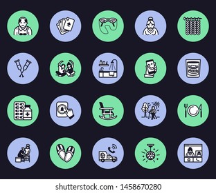 Elderly care vector flat line icons. Nursing home - old people activity, wheelchair, health check, hospital call button, grandfather, grandmather, doctor, senior assisted living.