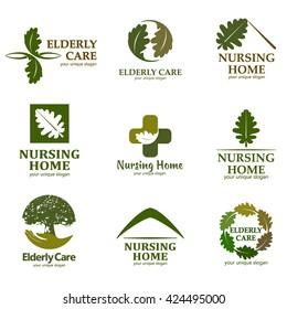Elderly care. Vector logo for design the nursing home