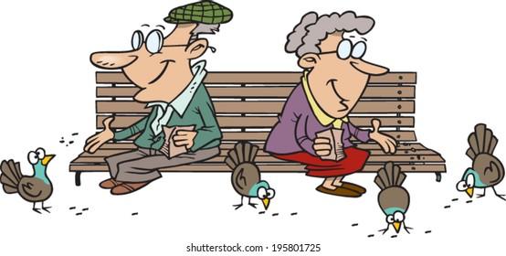 elderly cartoon couple feeding the birds on a park bench