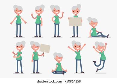 Elderly character set: Vector illustration of healthy senior woman in sport cloths.