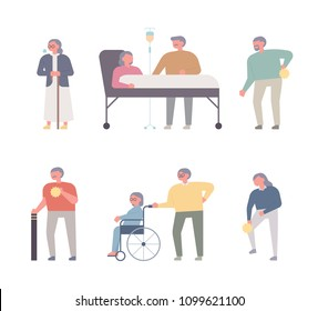 Elderly characters in geriatric hospitals and various cases of geriatric diseases. flat design style vector illustration set