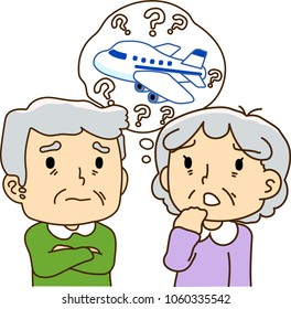 The elderly couple, aircraft, travel, anxiety