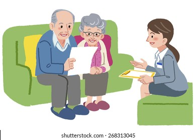 Elderly couple consults with Geriatric care manager or travel agent.