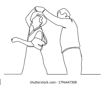 Elderly couple in continuous line art drawing style. Romantic elderly couple dancing. Old grandfather and grandmother. Continuous one line drawing. Happy grandparents isolated on white background.