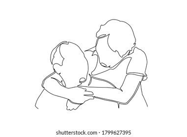 Elderly couple in continuous line art drawing style. Romantic elderly couple. Old grandfather and grandmother. Continuous one line drawing. Happy grandparents isolated on white background.