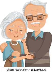 elderly couple crying. Old woman and old man couple embrace affectionately. Feeling sad of granddaddy and grandmother retirement age. Concept of health problems and life insurance. Vector illustration