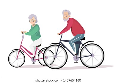 Elderly couple cycling flat vector illustration. Aged people, old husband and wife cartoon characters. Seniors pair in sportswear riding bikes. Happy retirement, healthy lifestyle