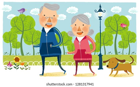 Elderly couple doing jogging with pet dog