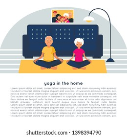 Elderly couple doing yoga in the home. Grandfather and grandmother.  Sukhasana. Active lifestyle poster with text
