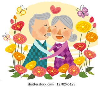 Elderly couple expressing love