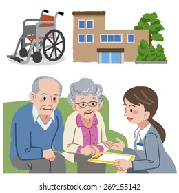 Elderly couple and Geriatric care manager with nursing home and wheel chair in the background