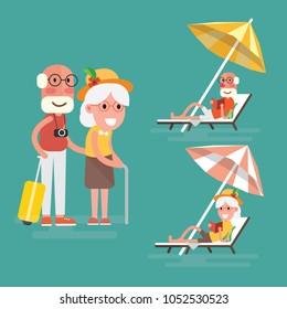 Elderly couple having summer vacation at the beach