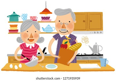 Elderly couple helping each other in kitchen