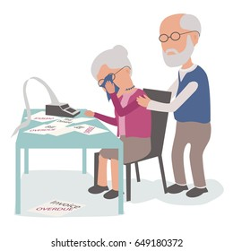 Elderly Couple with husband and wife upset worried about debt - vector characters body parts grouped and easy to edit - limited palette
