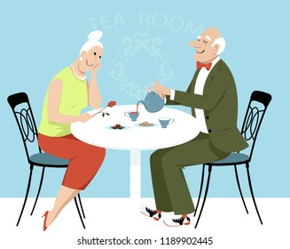 Elderly couple on a date having tea in a cafe, EPS 8 vector illustration
