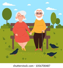 Elderly couple outdoors. Grandparents are sitting on a bench in the park and feeding pigeons. Old couple in love. Vector illustration of a flat design