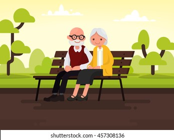 Elderly couple outdoors. Grandparents are sitting on a bench in the park. Vector illustration of a flat design