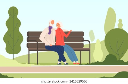 Elderly couple park. Seniors happy grandfather grandmother sitting on bench old family in summer nature city park vector concept