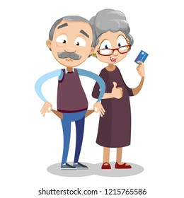 Elderly couple personage isolated on white background. Man showing empty pockets and happy woman with credit card. Retirement savings money and financial budget in old age vector illustration
