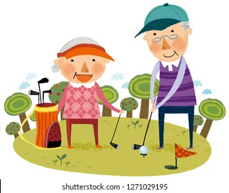 Elderly couple playing golf