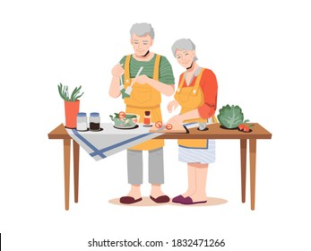 Elderly couple preparing healthy meal on table with organic food products. Vector old man and woman in aprons cooking dinner. Greens, vegetables, cabbage and carrot, salad and seasonings salt, pepper