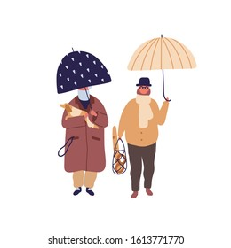 Elderly couple promenade under umbrella vector flat illustration. Aged cartoon man and woman walking with dog at autumn season weather. Family jaunt at rainy day isolated on white background.