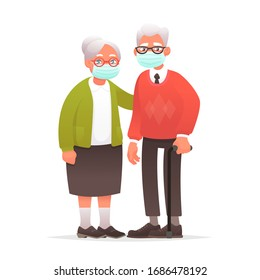 Elderly couple in protective medical masks. Grandparents against coronavirus. Grandmother and grandfather protected against virus or air pollution. Vector illustration in cartoon style