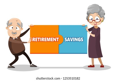 Elderly couple with retirement savings poster vector illustration. Cartoon pensioners man and woman holding horizontal banner consist of puzzle with inscription. Pension savings and planning concept