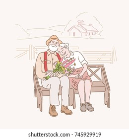 An elderly couple sitting on a bench in a rural village. hand drawn illustrations. vector doodle design