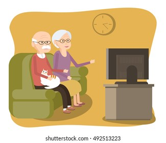 Elderly couple sitting on the sofa and watching TV. Old people lifestyle. Senior man and woman with a cat spend time together. Vector illustration flat design character