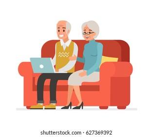 Elderly couple sitting on sofa and holding laptop. Flat style vector illustration isolated on white background.