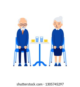 Characture older couple having coffee good