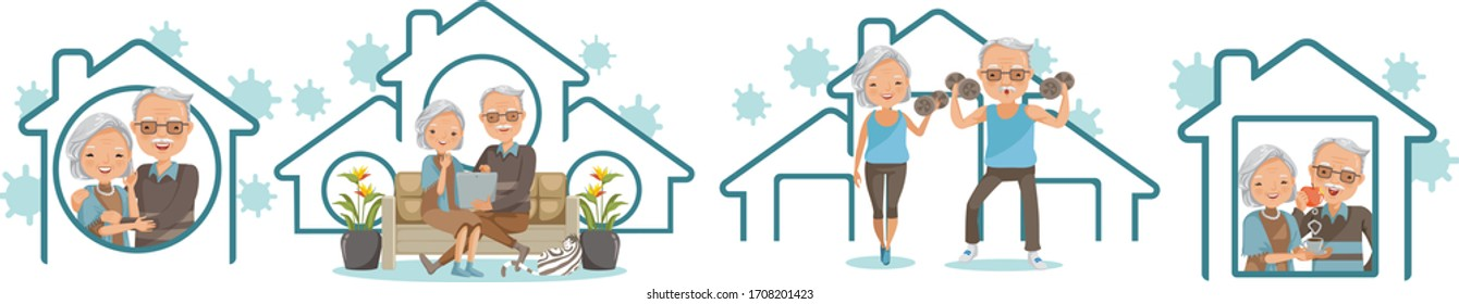 Elderly couple stay at home set. Campaign and coronavirus prevention family smiling and staying together. Concept for stay at home family. House simple symbols. Vector Illustration isolated on white.