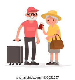 Elderly couple of tourists. Grandmother and grandfather with suitcases are traveling to travel. Vector illustration in a flat style
