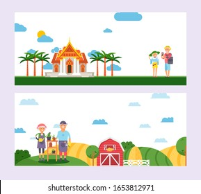 Elderly couple traveling and farming, happy pensioners enjoying retirement together, vector illustration. Senior people cartoon characters, active lifestyle retirement, elderly people travel Thailand